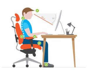 posición adecuada frente al computador